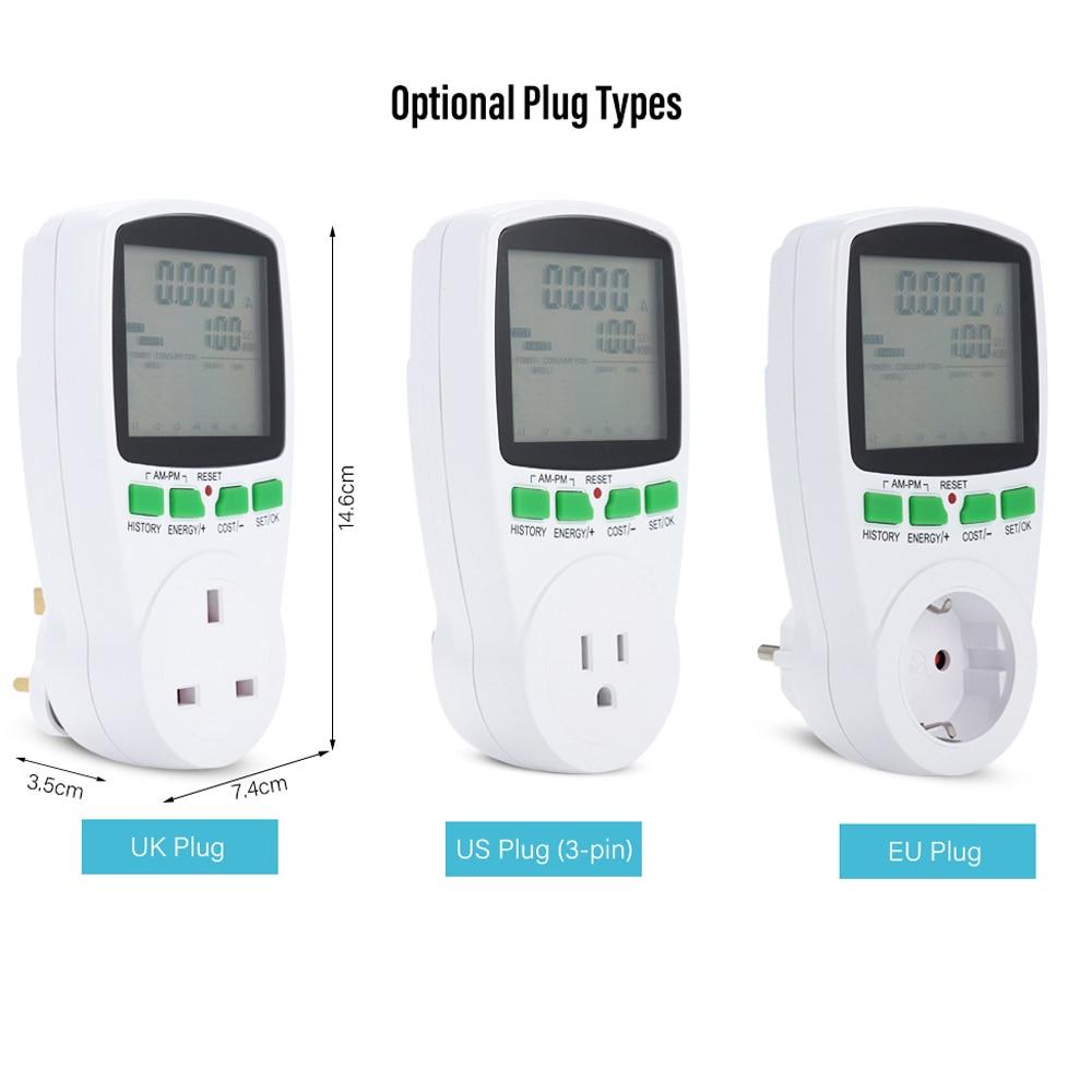Medidor vatímetro de Corriente CA inteligente LCD Digital, medidor de energía de enchufe de facturación, Monitor de electricidad de frecuencia de voltaje KWh