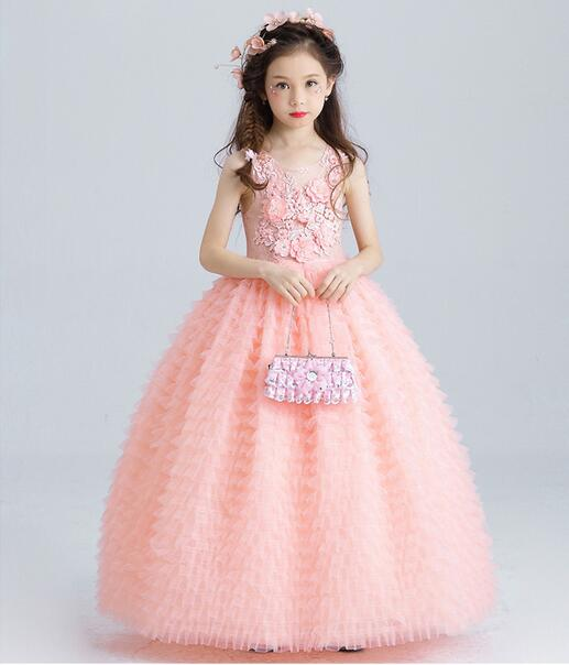 الفاخرة الوردي فساتين تول بطبعة الزهور للفتيات الاطفال فستان الزفاف طول الكاحل يزين حبة الاطفال حفلة موسيقية فستان أول بالتواصل فساتين