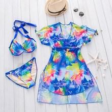 XARKE 3 pièces maillot de bain femmes Bikini Push Up robe de plage tunique couverture Ups maillot de bain pour femme Saro filles baigneur licou maillot de bain