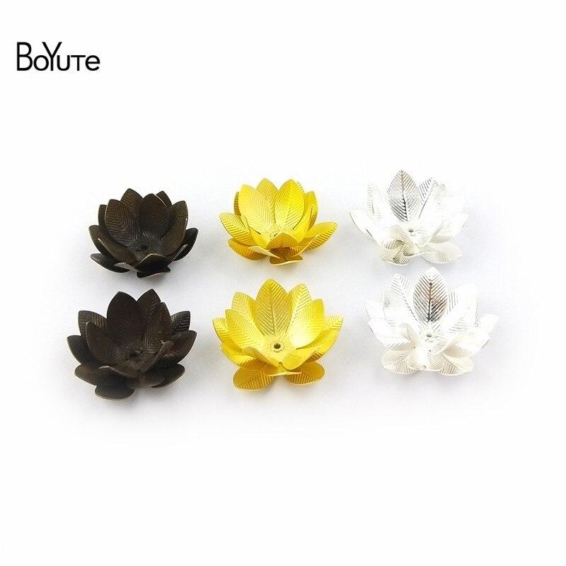BoYuTe (20 шт./лот) 26 мм металлический латунный трехслойный цветок лотоса Diy материалы ручной работы аксессуары для ювелирных изделий