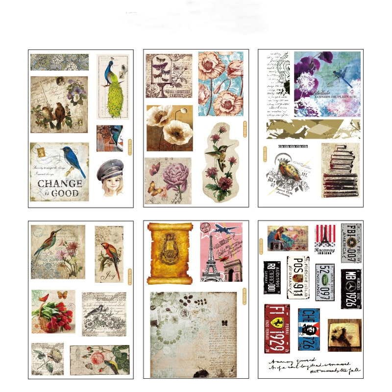 6 pcs/pack Ancient Retro Bullet Journal Decorative Stationery Stickers Scrapbooking DIY Diary Album Stick
