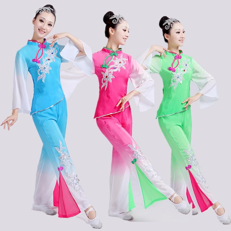 Фанатские танцы ханьфу в китайском стиле, одежда Янко, костюмы, одежда для народных танцев и представлений, женский костюм для народных танц...