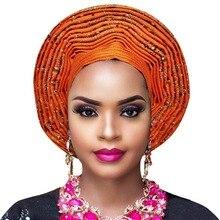Headtie africano aso oke auto gele com contas africano senhoras headwrap para aso ebi casamento