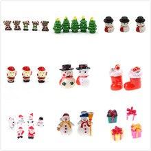 1/2/3/5 stück Miniaturen Frohe Weihnachten Tag Geschenk Box Santa Claus Schneemann Schreibtisch Kleine Statue Figurine handwerk Ornament