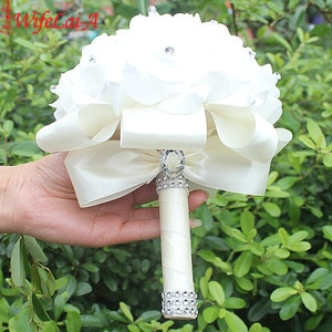 IN STOCK Cheapest PE Rose Bridesmaid Wedding Foam flowers Rose Bridal bouquet Ribbon Fake Wedding bouquet de noiva 14 Color
