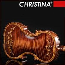 Christina E07-carved violino 4/4 instrumentos musicais artesanais viola fo profissional jogar alta qualidade arco e rosin