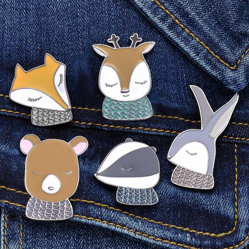 Broches de animales bonitos de dibujos animados para mujer, broche creativo de zorro, conejo, oso, ciervo, joyería, esmalte, Pin, chaquetas, Collar, insignia, Pins, botón