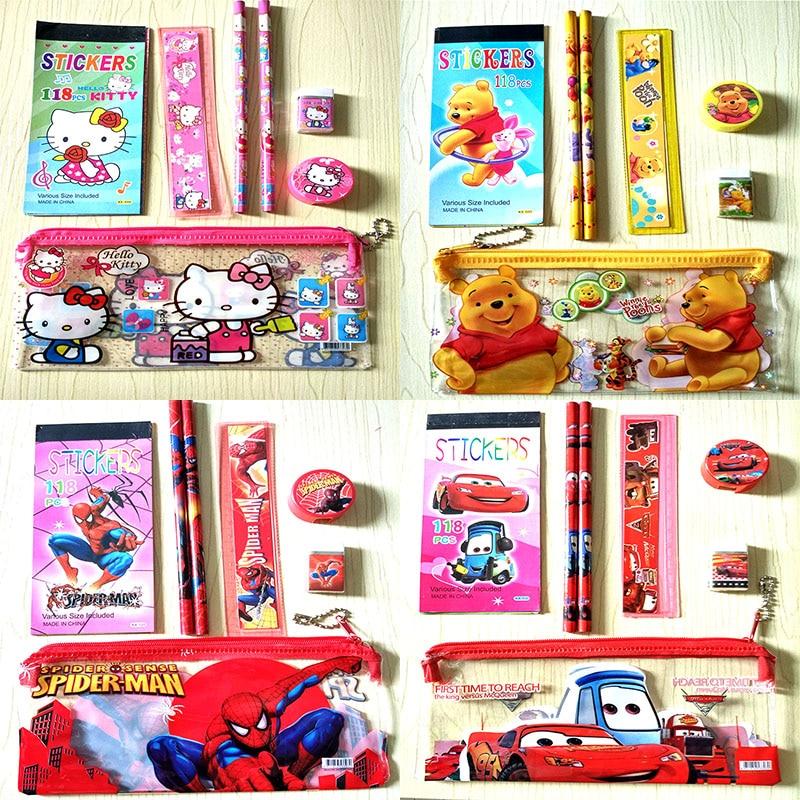 Мультяшный милый пенал с медведем, милый Миньоны, Канцелярский набор для девочек, линейка, ластик, детский подарок, офисная, школьная поставка
