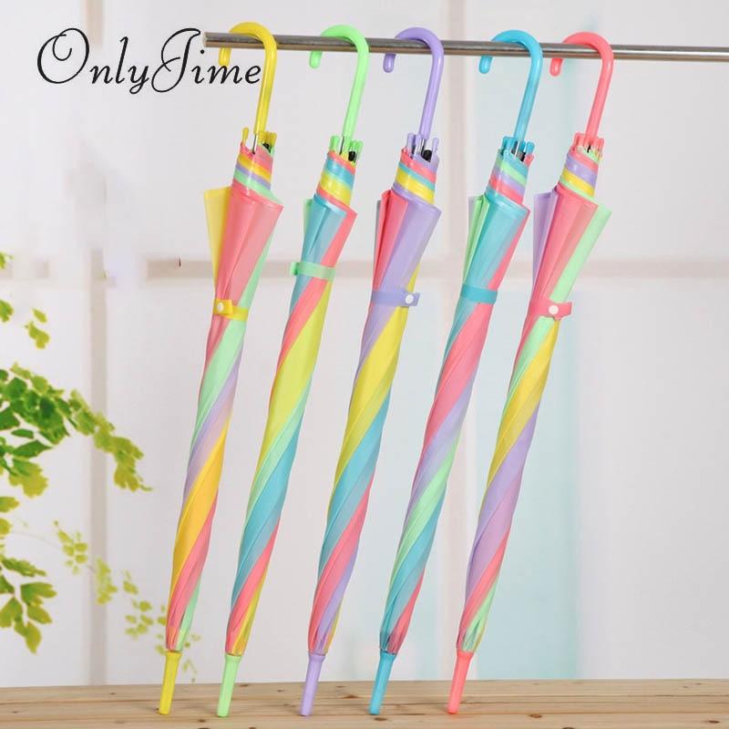 Sólo Jime Rainbow paraguas transparente Multi-color costura mango largo Paraguas automático lluvia mujeres Anti-UV soleado y lluvioso