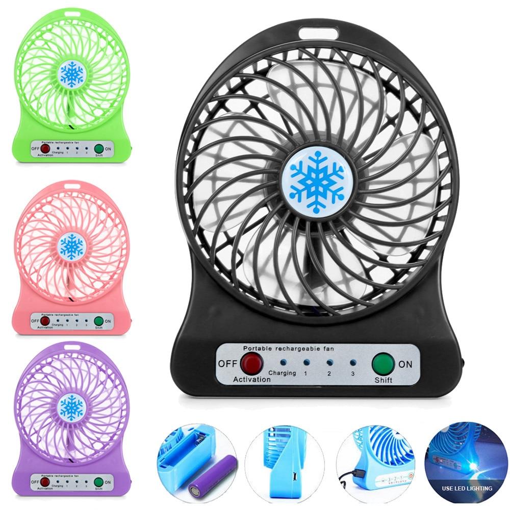 1PC Tragbare Persönliche Mini Fan Einstellbare 3 Speed USB Aufladbare Fans Home-Office Schreibtisch Kühler LED Licht Fan Sommer luftkühler