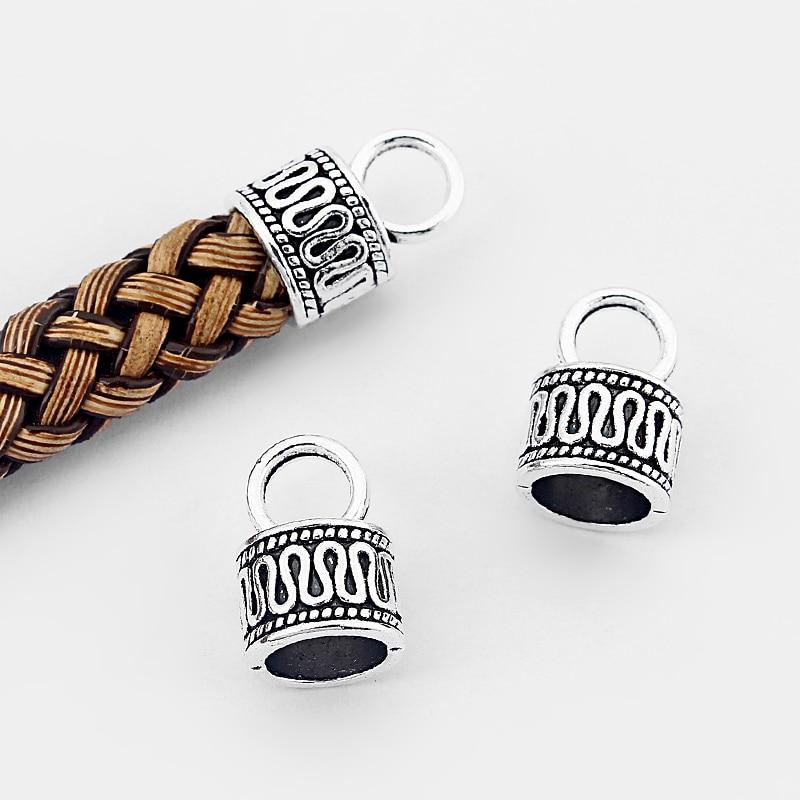 20 pces tibetano liga de prata borla tampas de extremidade grânulo para fazer jóias diy descobertas 7mm redondo cabo de couro
