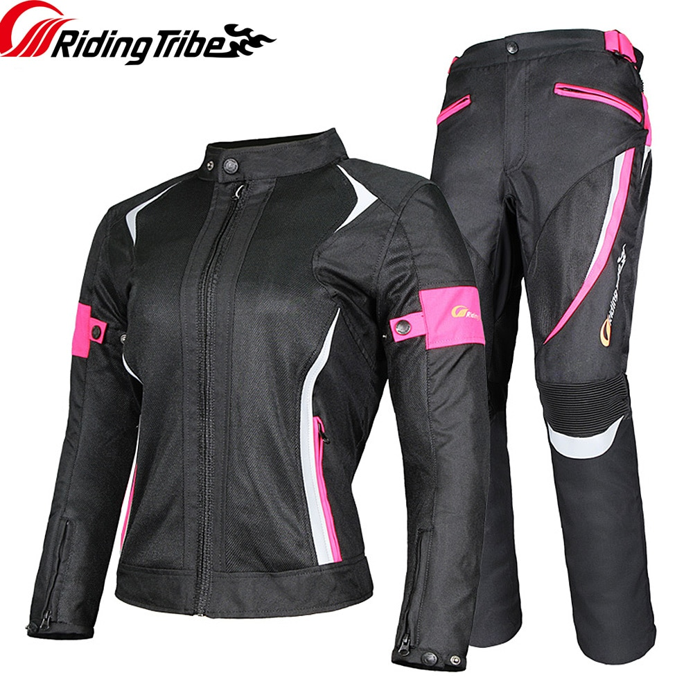 Women Motorcycle Jacket Pants Summer Ladies Riding Raincoat Safety Suit with 9pcs Protective Gears a