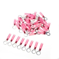 50pcs M8 Heat Shrink Red Ring Terminal Insulated Electrical Wire Cable Connectors Auto Crimping Terminal