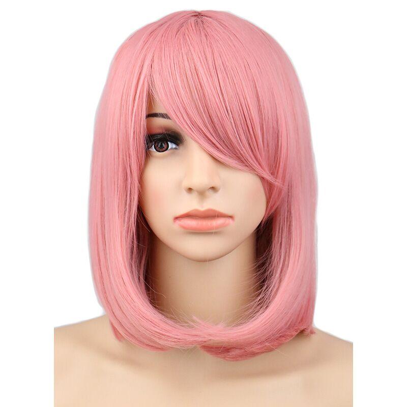 QQXCAIW mujeres niñas Bob corto disfraz con peluca recta de fiesta de color rosa de 40 Cm pelucas de pelo sintético