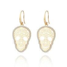 Pendientes de calavera de oro de moda para mujer, pendientes de cristal de esqueleto de flor, pendientes de calavera huecos Vintage, joyería de mujer, regalo de madre