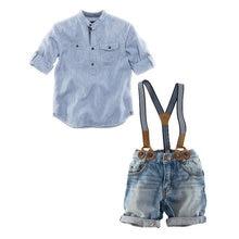 2018 New Summer Boys Denim Sets Costume Blue Striped Shirts+Suspender Shorts Jeans Pants 2PC Suits Meninos Infantil Clothing