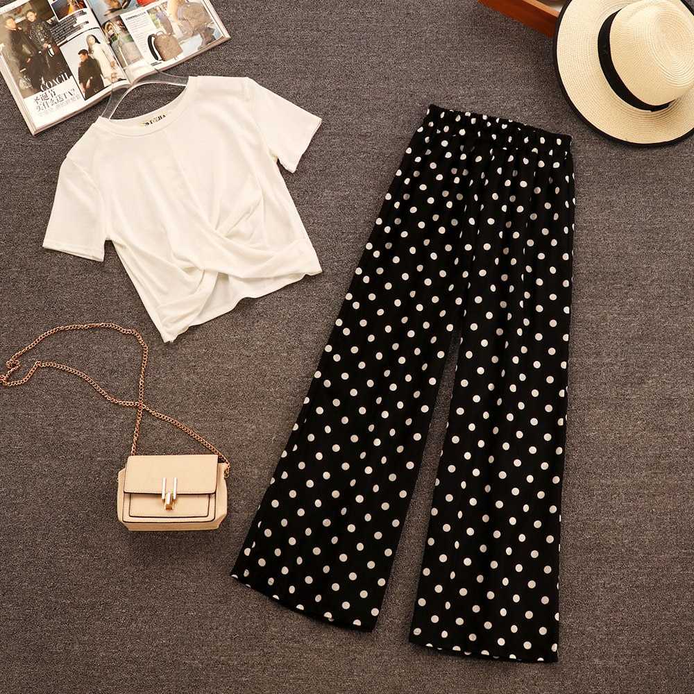 New Summer Fashion Women's Sets O Neck Short Sleeve T-shirts + Polka Dot Wide Leg Long Trousers Female Suits Top and Pants