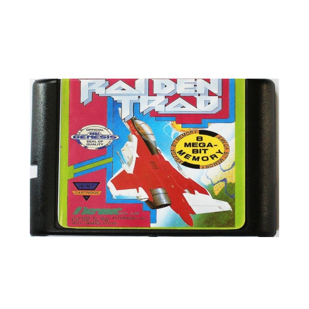 Raiden tradicional 16 bit tarjeta de juego MD para Sega Mega Drive para SEGA Génesis