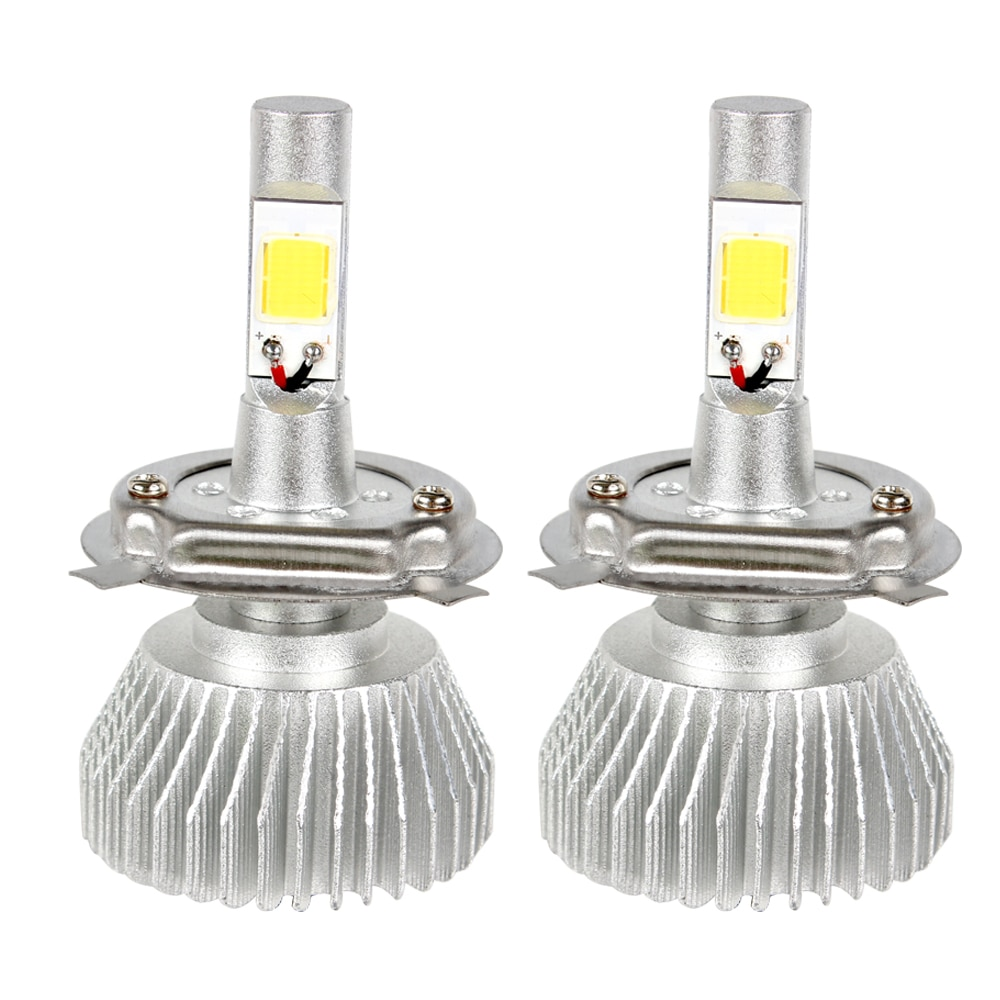2 uds. Faros delanteros LED de coche de alta calidad C6 series H4, luz de cabeza COB, haz alto bajo todo en uno