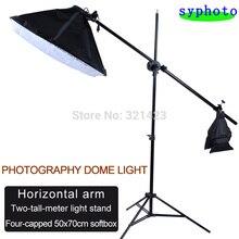 Photo Studio 50*70cm Softbox 4-porte-lampe 100-240V avec barre transversale simple poulie bras Horizontal 2M support de lumière
