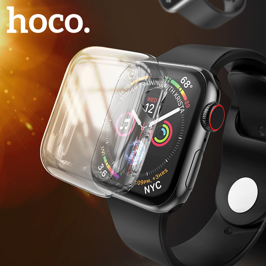 Funda HOCO para Apple Watch 5 40MM 44MM funda protectora de pantalla TPU transparente carcasa de silicona blanda y transparente para IWatch Series 4