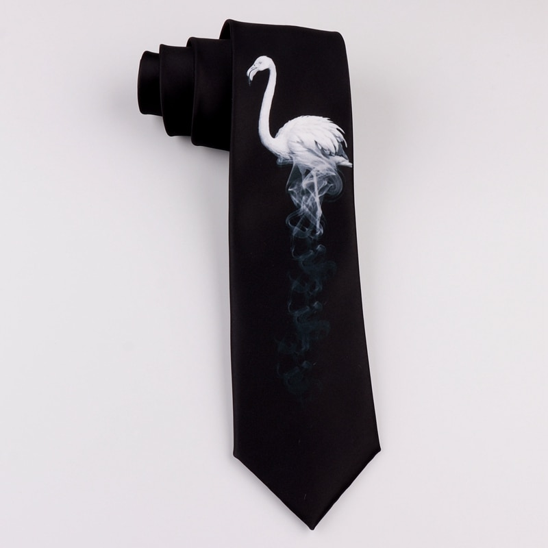 Design printing creative tie casual trend personality literary youth boys and girl black and white flamingo fashion tie size 7CM