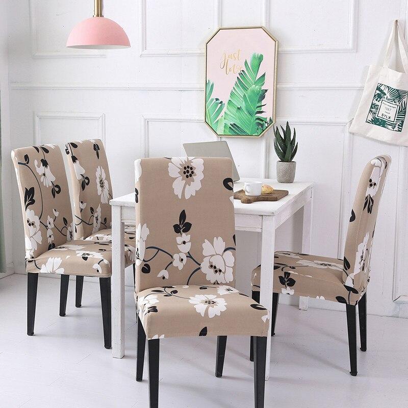 4 قطعة الحديثة الأزهار نمط دنة كرسي دنة يغطي الطعام غرفة مقعد واقية الغلاف حالة للإزالة تمتد غطاء كرسي