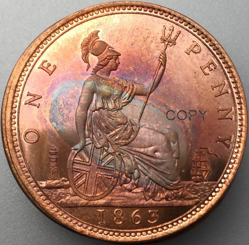 Gran Bretaña 1863 Victoria un centavo Reino Unido un centavo rojo cobre copia moneda