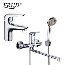 FRUD robinet de lavabo en alliage de Zinc   Chromé mitigeur de salle de bains, tuyau de sortie en alliage de Zinc, robinet de douche, baignoire douche pomme de douche, robinet froid et chaud maison