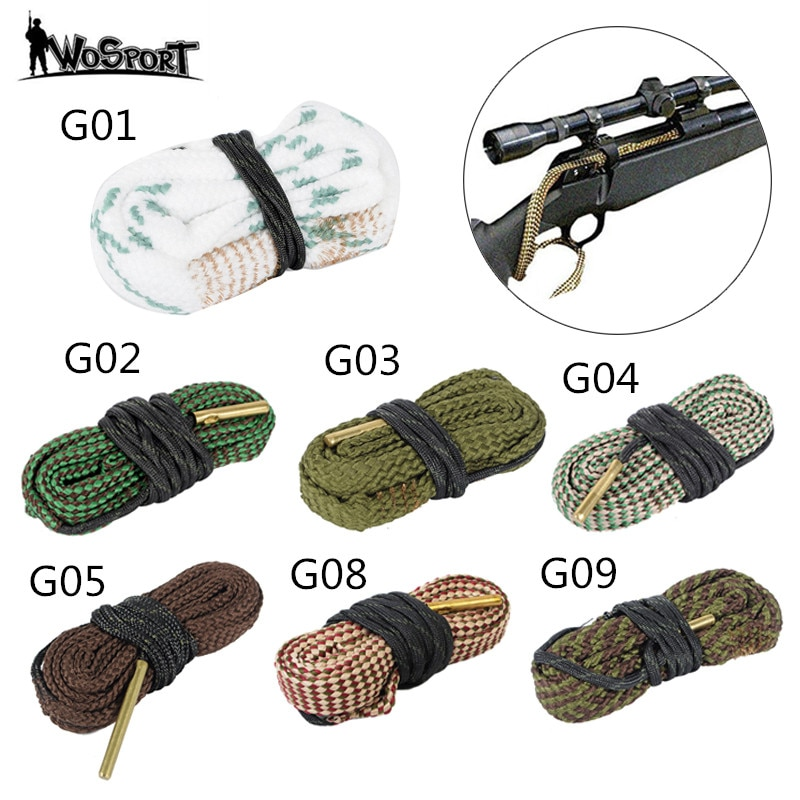 Hunting Gun Bore Cleaner .22 Cal.223 Cal.38 Cal& 5.56mm,7.62mm,12GA Rifle Cleaning Kit Tool Rifle Barrel Calibre Rope