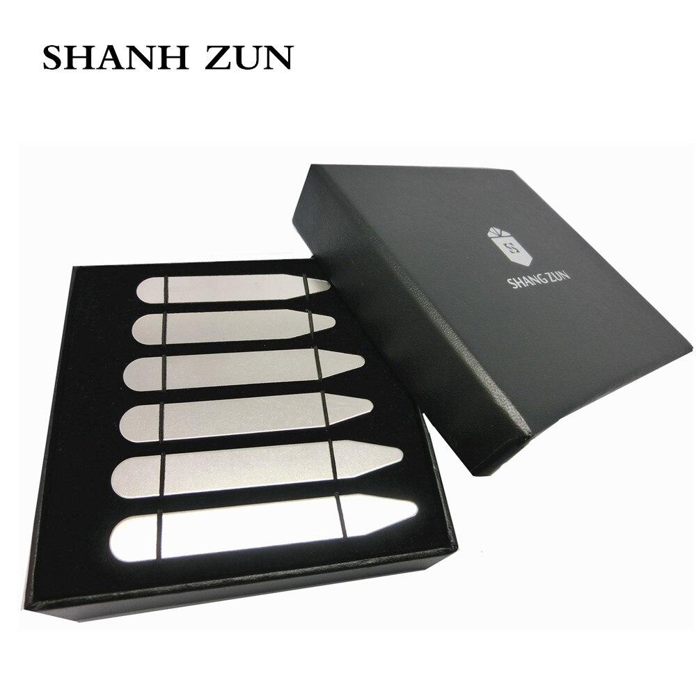 """SHANH ZUN 6 Pcs Estadias De Colarinho De Metal para a Camisa de Vestido dos homens, prateado 2.2 """"/2.5""""/2.7 Presentes de Natal"""