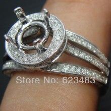 Sólido 14 K oro blanco 8 MM corte redondo diamante SEMI montaje anillo de compromiso