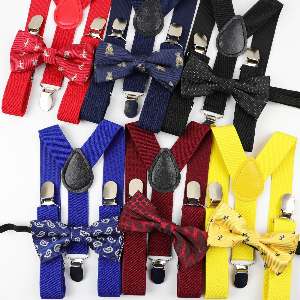 Cartoon Children Belt Bowtie Set Baby Boys Suspenders Polyester Y-Back Braces Two Colors Bow Tie Adjustable Elastic Kids