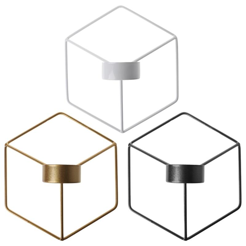 Candelabro geométrico 3D de estilo nórdico, candelabro de pared de Metal, candelabro para decoración del hogar