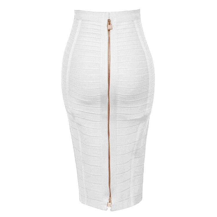 16 Colors XL XXL Sexy Solid Zipper Orange Blue Black Red White Pink Bandage Skirt Women Elastic Bodycon Summer Pencil Skirt 58cm