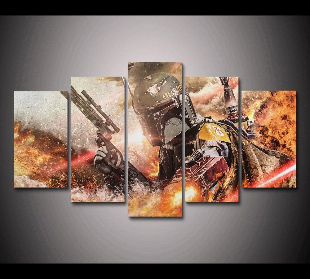 Póster de la película de Star Wars de Boba Fett, 5 paneles impresos en HD, pintura en lienzo para niños, decoración de lienzo, Póster Artístico para pared PT1658