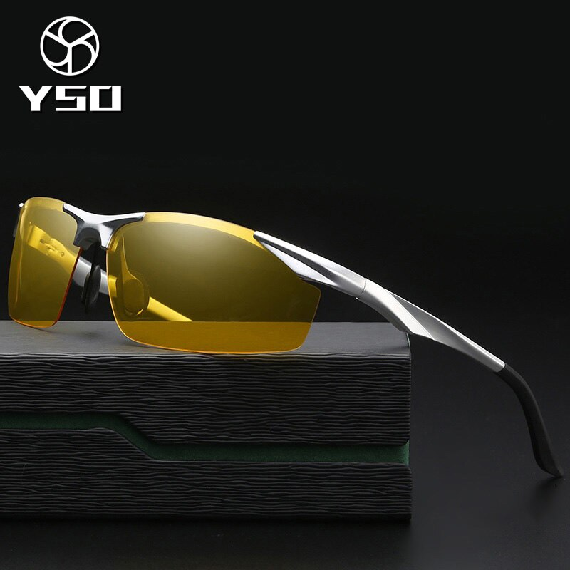 YSO Night Vision Glasses Men Aluminium Magnesium Frame Polarized Night Vision Goggles For Car Driving Anti Glare Glasses 2206