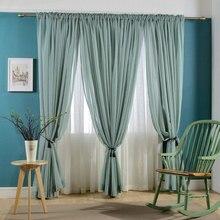 Rideau en Voile de Faux lin couleur unie   Tringle de rideau en tulle moderne, rideau de fenêtre, pour chambre à coucher et maison, vendu comme panneau unique
