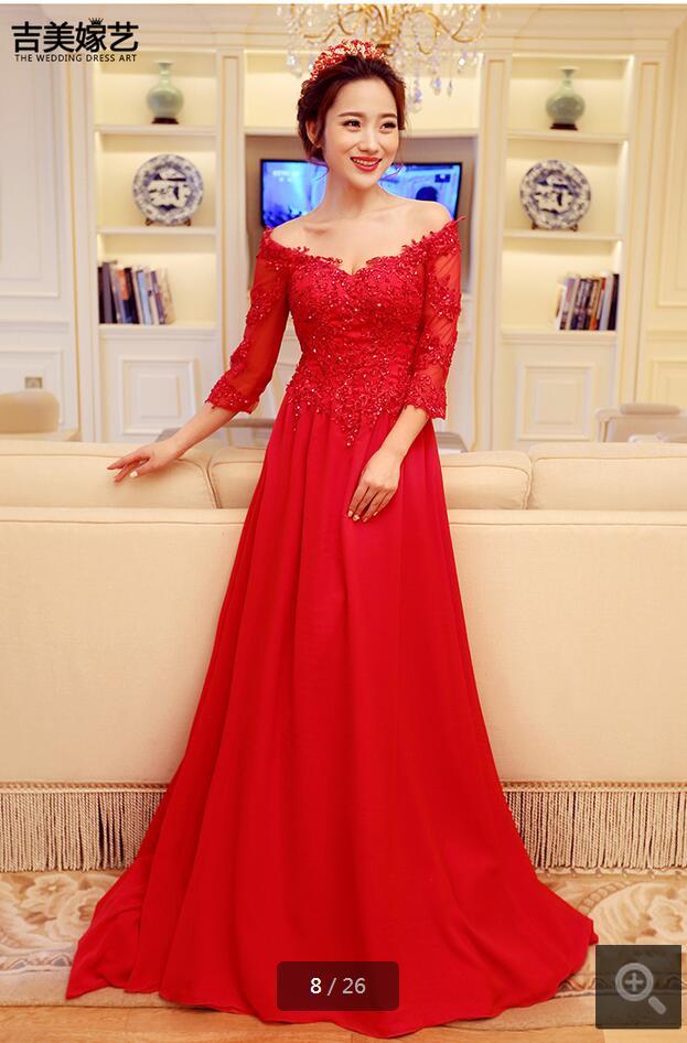 2016 recién llegado de encaje rojo appliques wedding dress cuadro verdadero rebordear lentejuelas vestidos de boda superventas novia dress venta caliente