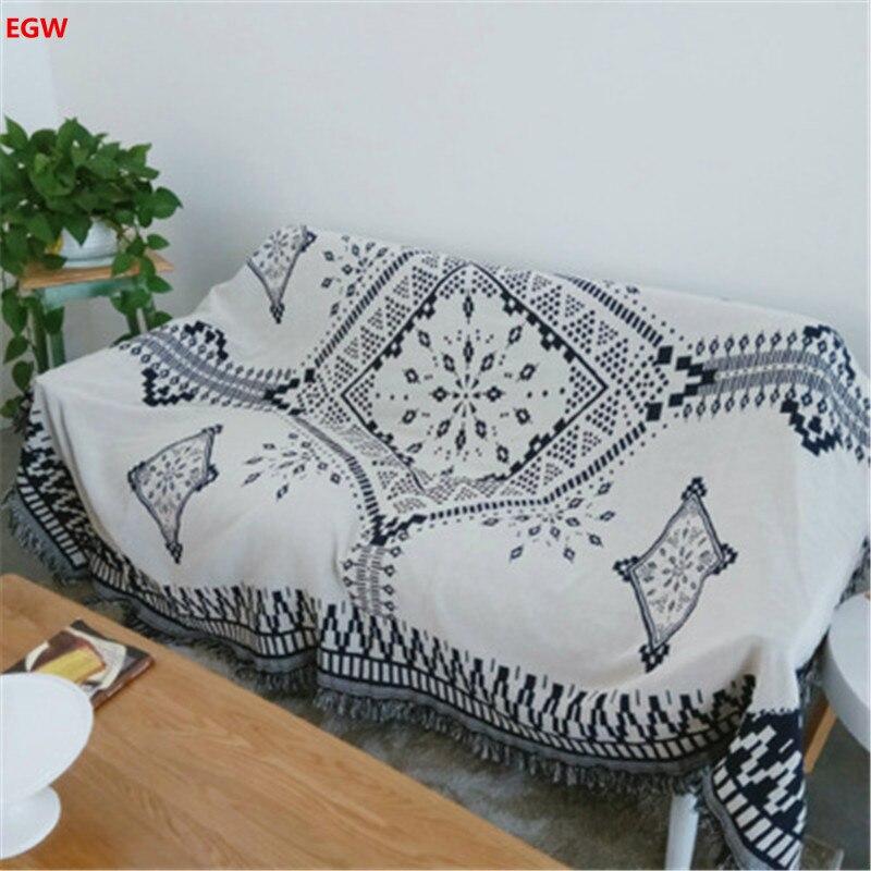 1 Pza manta geométrica Manta de algodón mantas 130*180 cm blanco y azul oscuro AB lado borla cama sofá funda de silla decoración textil para el hogar