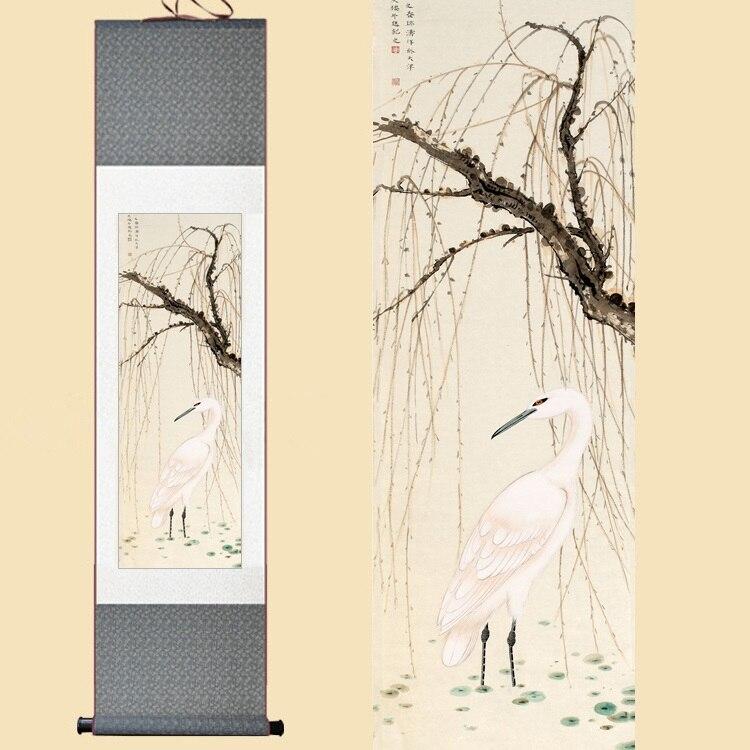 30X120 CM seda china acuarela flor y pájaros tinta arte Egret sauce feng shui pared imagen Damasco enmarcado desplazamiento pintura de la lona