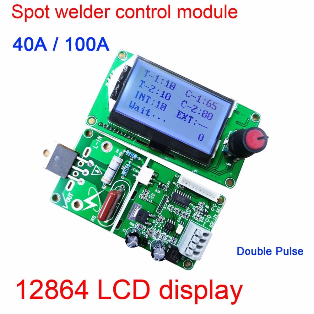 100A / 40A 12864 LCD display Digital Double Pulse Encoder Spot Welder Welding Machine Transformer Controller Board Time Control