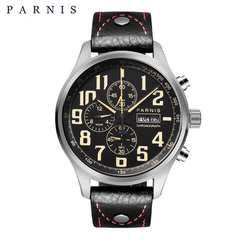 43mm parnis relógio de quartzo analógico cronógrafo datejust militar piloto relógio mergulho 100m pa6052 à prova dwaterproof água