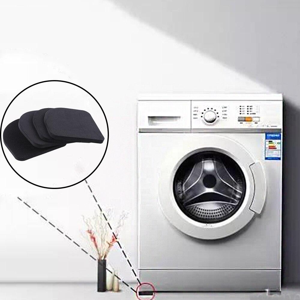 Esterilla antivibración multifunción negra, 4 unidades por lote, para frigorífico, antivibración, amortiguadores de ruido, accesorios de baño