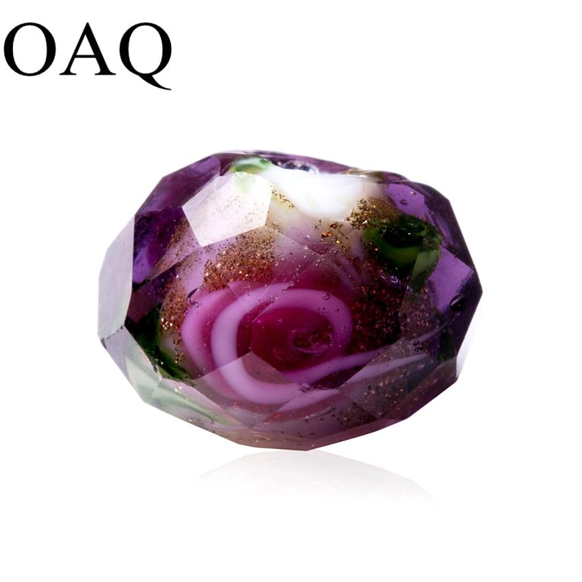 Contas de contas para fazer jóias contas de lampwork contas de vidro para colares encantos rosa flor 5-9mm diy artesanato de jóias