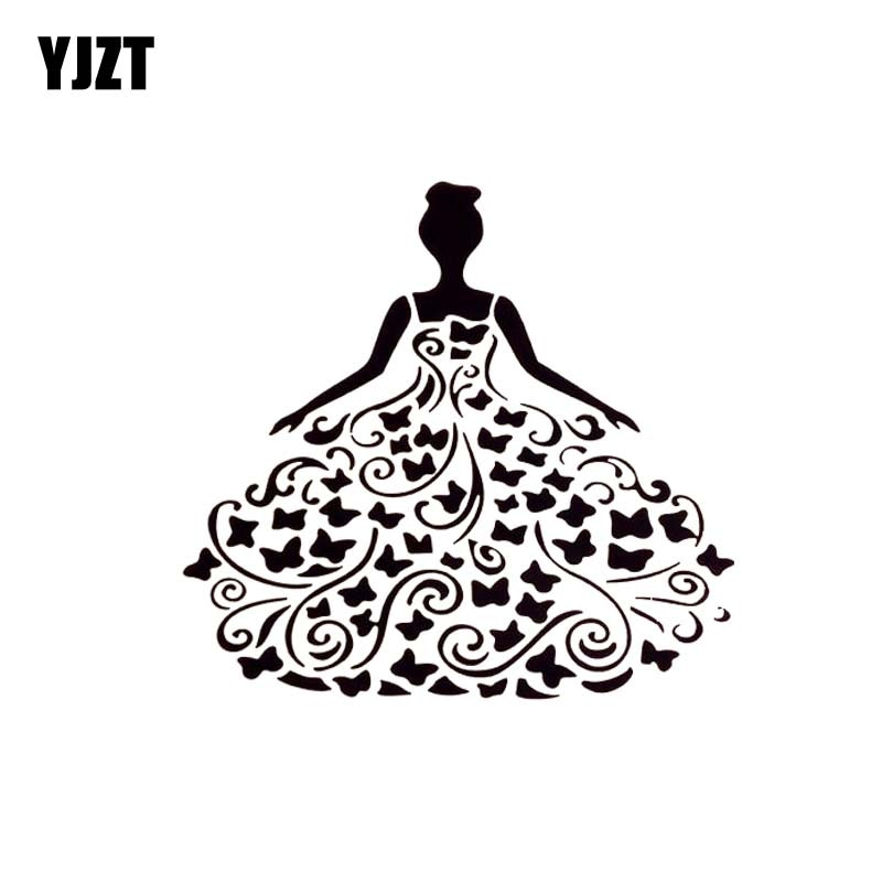 YJZT 13*13.8CM Flower Cute Sexy Girl Silhoutte Car Popular Fashion Style Car Sticker Black/Silver Vinyl Decal C20-0877