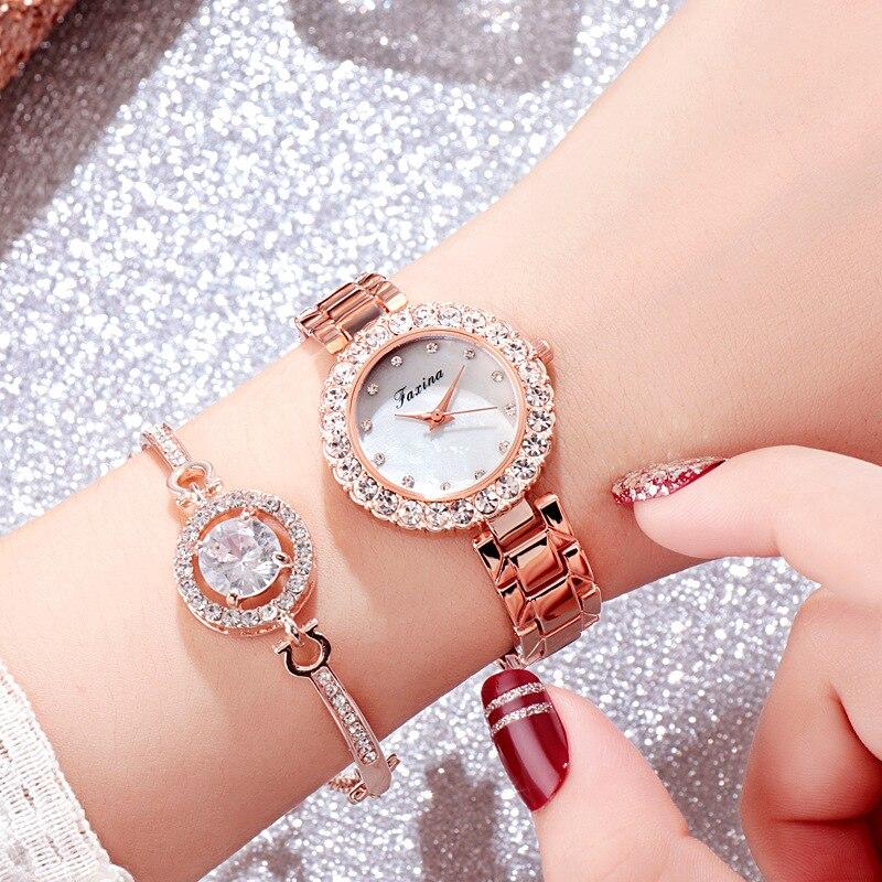 Relógio de Luxo Definir Relógio Feminino Rosegold Água Broca Pulseira Boho Jóias Senhoras Hora Casual Quartzo Wristveres W15 2 Pçs