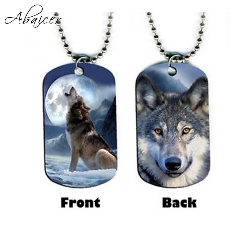 Abaicer pendiente de joyería a la moda Lobo collar con chapa de perro de cadena larga para mujer y hombre creativo Animal colgante de doble cara
