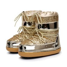 Dropshipping Snow Boots 겨울 앵클 부츠 여성화 모피 웜 부츠 여성 플러스 사이즈 캐주얼 슈즈 플랫폼 Non Slip Gold Bling