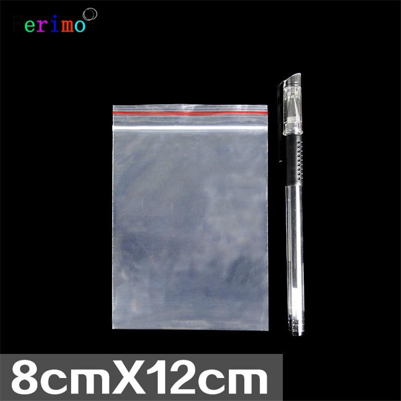 Frete grátis 100 pcs 8*12 cm 9 fios engrossado auto-vedação lanches saco mercadoria pequena à prova d água embalagem saco de jóias
